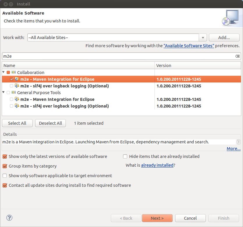 Screenshot of Install New Software dialog after selecting m2e for install.